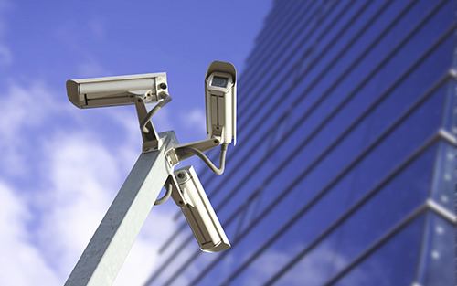cctv cameras in front of enterprise building